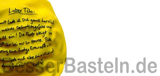 ausgefallene geburtstagseinladung: beschrifteter luftballon, Einladung