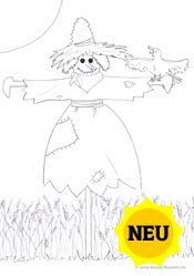 Kostenloses ausmalbild vogelscheuche herbst zum ausdrucken für kinder